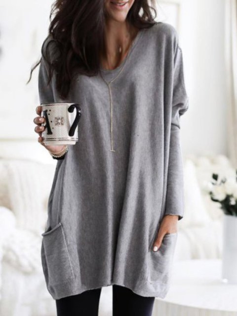 Women Casual Long Sleeve V Neck Pockets Loose Sweatershirt