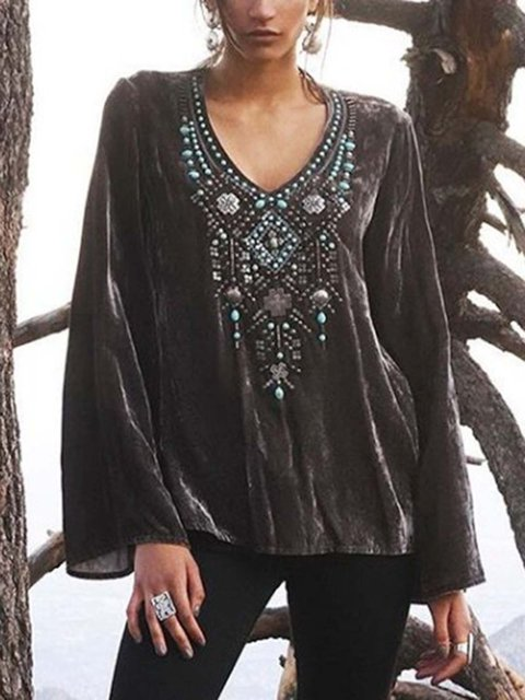 Black Cotton-Blend Long Sleeve V Neck Shirts & Tops
