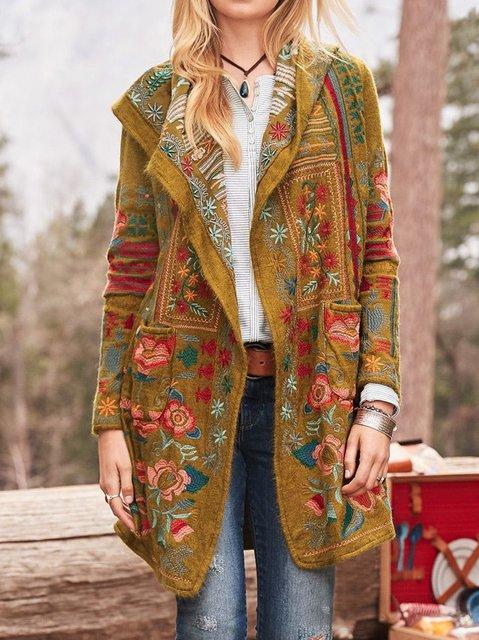 Cotton-Blend Floral Long Sleeve Outerwear