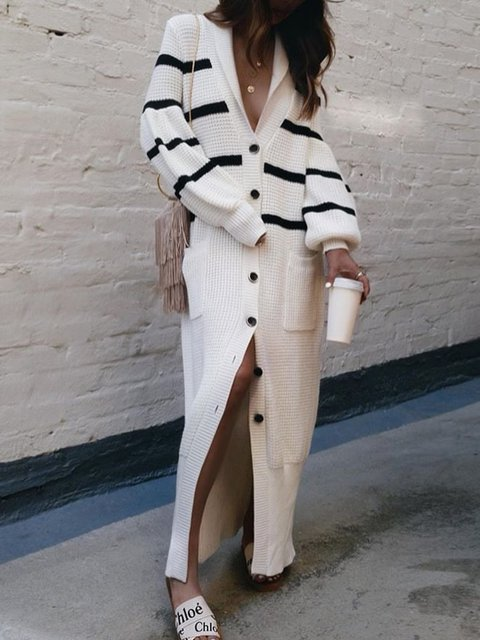 Women V-Neck Pockets Buttoned Striped Knitted Maxi Dresses