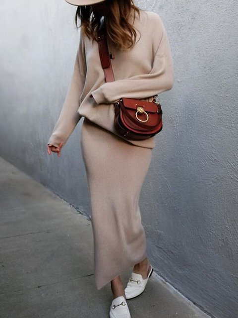 Women Crew Neck Long Sleeves Bodycon Knitted Suits