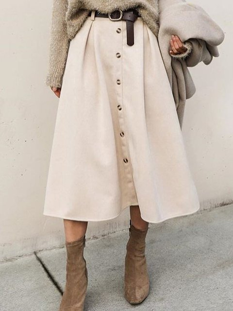 Women Buttoned Solid Casual Skirts