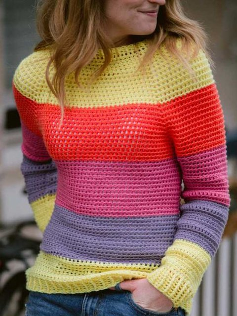 Women Color-block Striped Knitted Sweaters