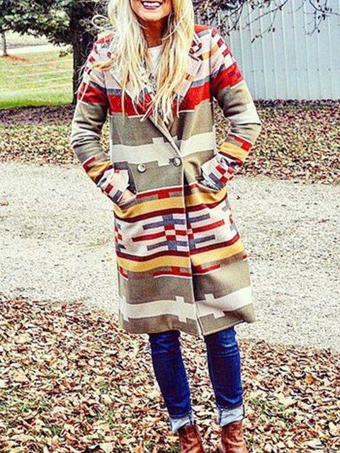 Multicolor Color-Block Shawl Collar Long Sleeve Outerwear