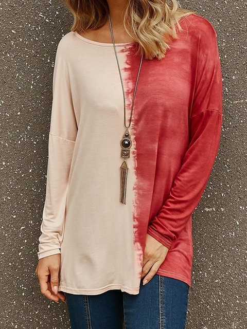 Red Color-Block Crew Neck Solid Boho Shirts Tops