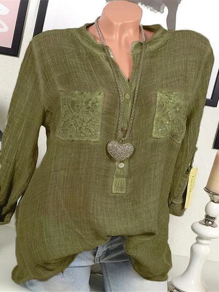 Long Sleeve Cotton Paneled Casual Shirts