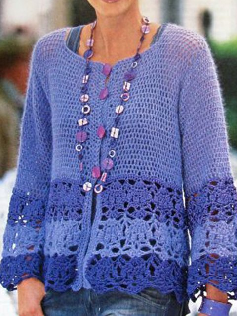 Blue Long Sleeve Knitted Tops
