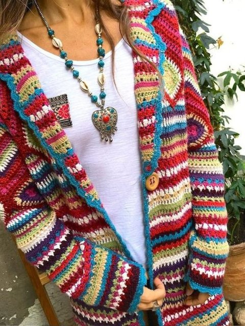 Multicolor Tribal Long Sleeve Sweater