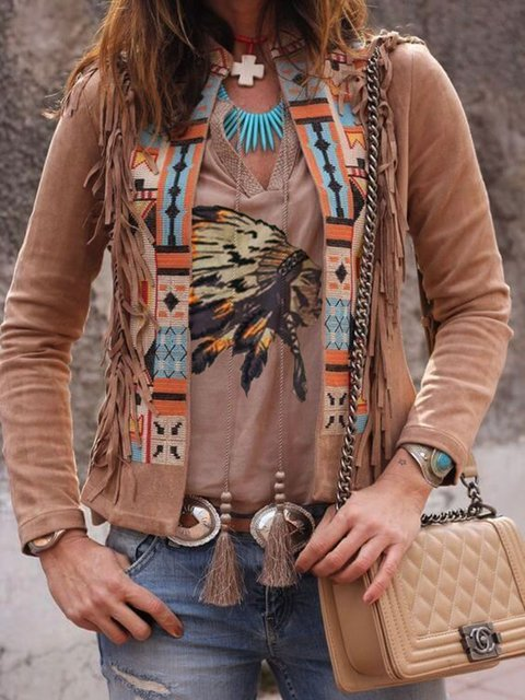 Brown Cotton-Blend Long Sleeve Casual Shirts & Tops