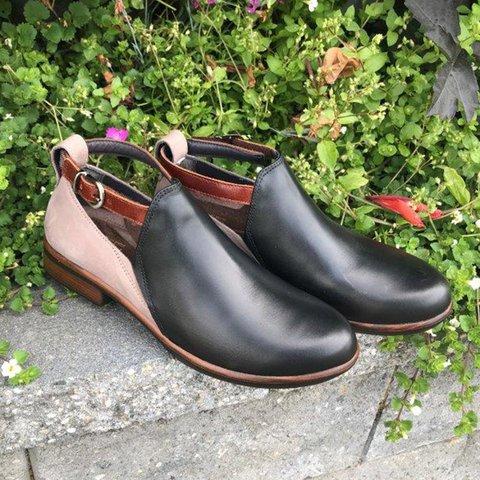 Woman Vintage Adjustable Buckle Split Joint Low Heel Ankle Sandals Boots