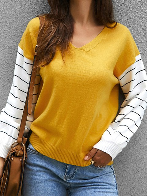 Knitted Long Sleeve V Neck Sweaters
