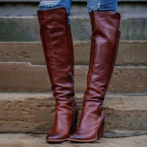 f52060460cb Pu Leather Zipper Chunky Heel Boots Sweet Knee-High Long Boots