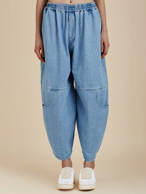 Plus Size Denim Pant Paneled Tapered Trousers