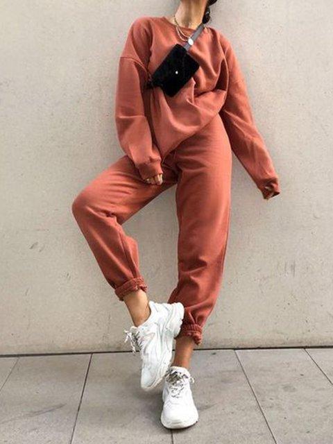 Plain Cotton Long Sleeve Suit Set