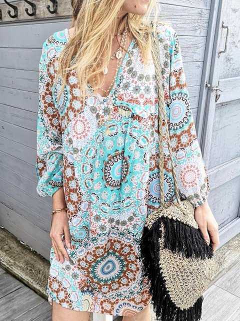 V Neck Women Floral Dresses Daily Cotton-Blend Dresses