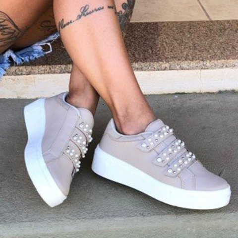 Woman Imitation Pearl Magic Tape Platform All Season Loafers Sneakers