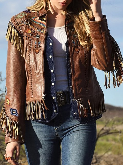 Boho Embroiderty Faux Leather Fringe Jacket
