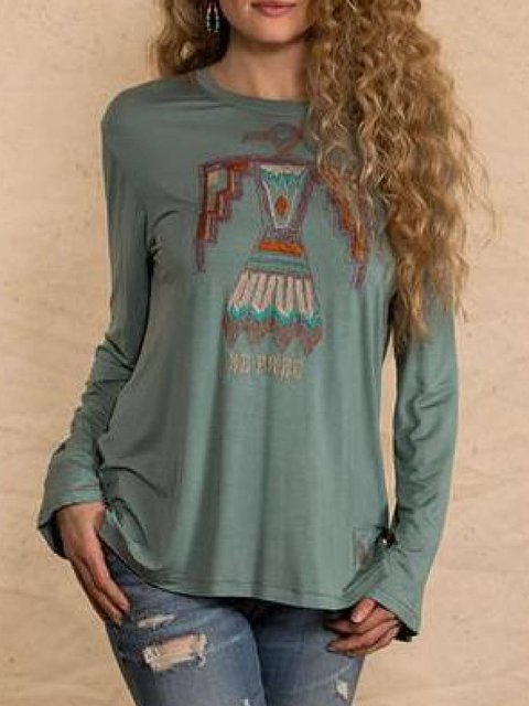Dark Green Vintage Long Sleeve Shirts & Tops