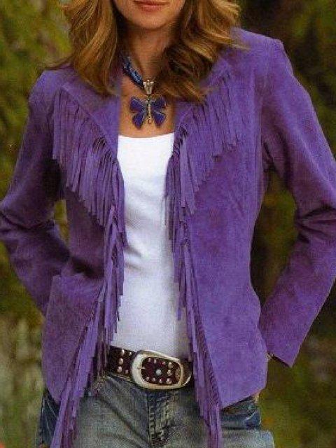 Purple Lapel Long Sleeve Outerwear