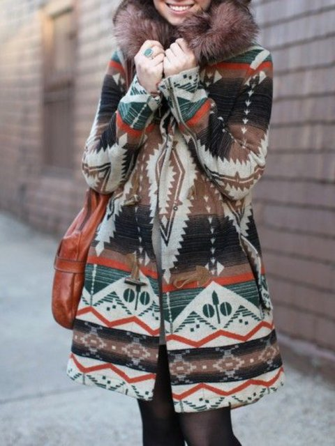 Coffee Casual Hoodie Patchwork Outerwear