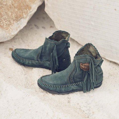 Daily Flat Heel Suede Tassel All Season Boots