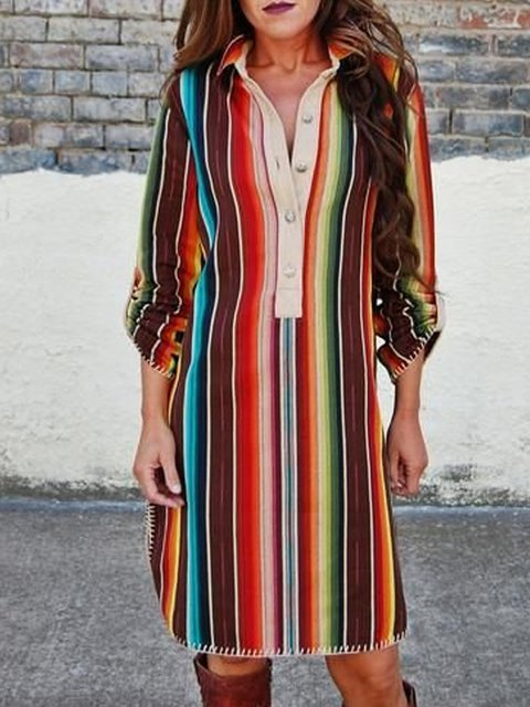 Multicolor Color-Block Long Sleeve Dresses