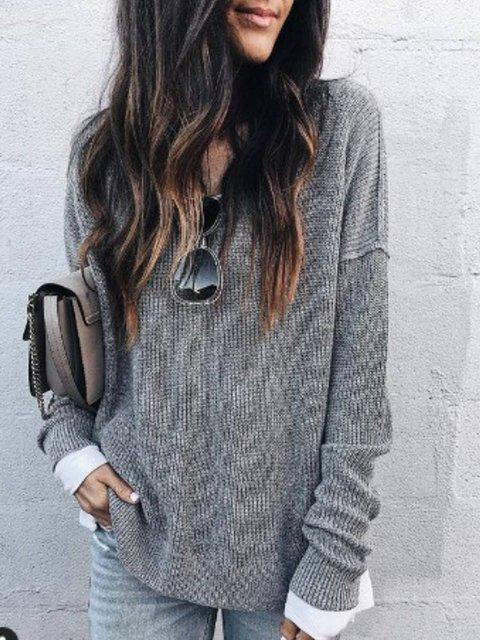 Plain V Neck Long Sleeve Cotton Shirts & Tops