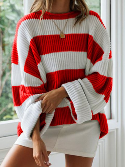 Color-block Striped Long Sleeve Casual Sweaters