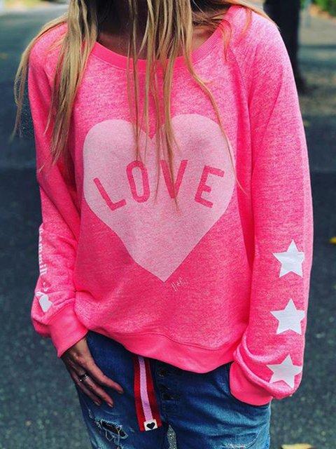 Plus Size Letter Sweatshirt Crew Neck Long Sleeve Tops