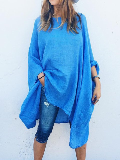Plus Size Solid Blouses Batwing Crew Neck Tops