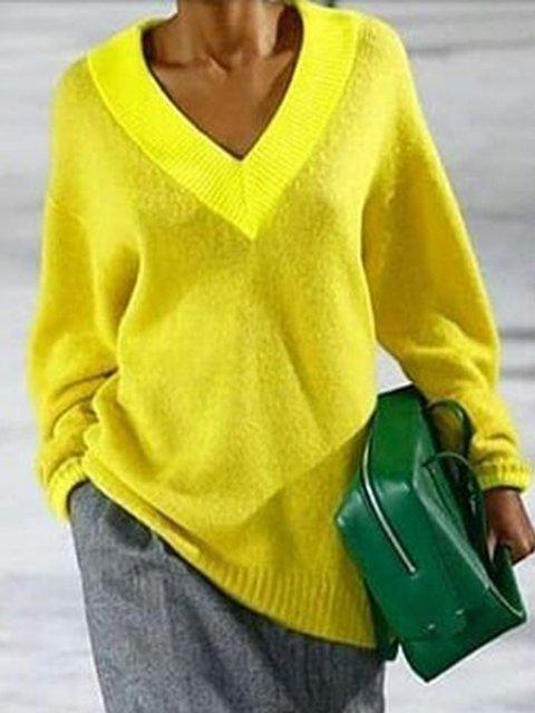 Daytime Long Sleeve Plain Vintage V Neck Sweaters