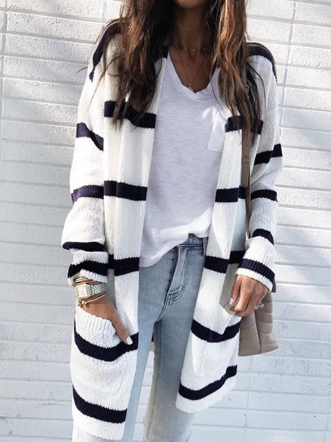 Long Sleeve Knitted V Neck Casual Outerwear