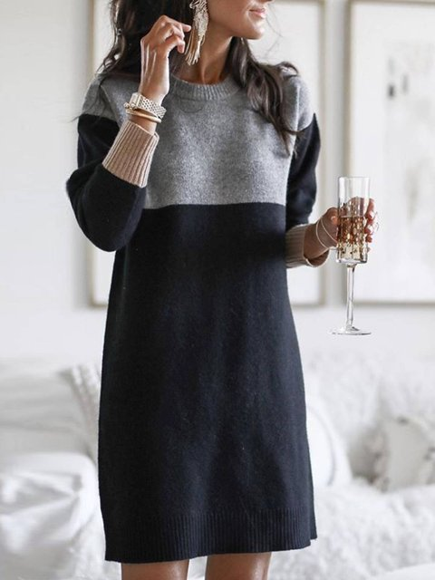 Knitted Casual Plain Crew Neck Shirts & Tops