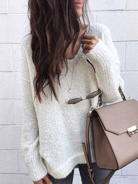 Casual V Neck Long Sleeve Knitted Shirts & Tops