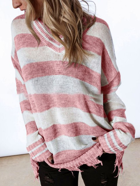 Color-block Striped V-Neck Chic Knitted Tops