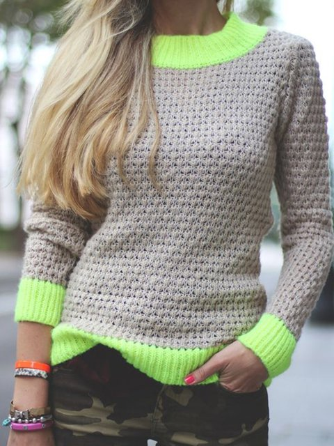 Plus Size Women Color-block Paneled Knitted Tops