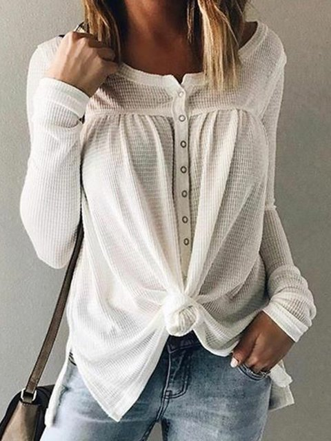 Plus Size buttoned Long Sleeve Casual T-Shirts