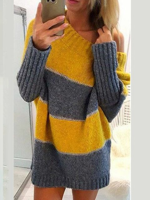Plus Size Women Striped Color-block Casual Sweaters