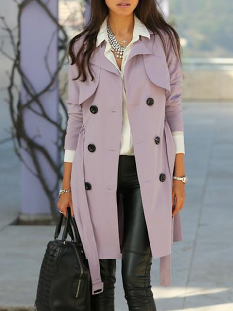 Women Buttoned Lapel Solid Trench Coat