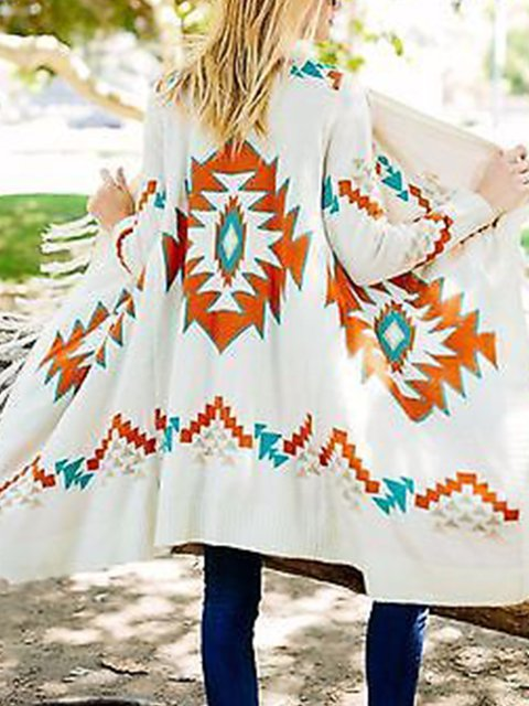 White Patchwork Boho Outerwear