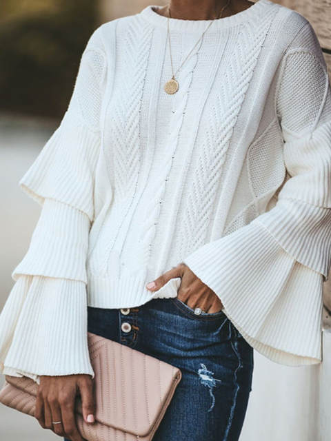 White Knitted Long Sleeve Shirts Tops