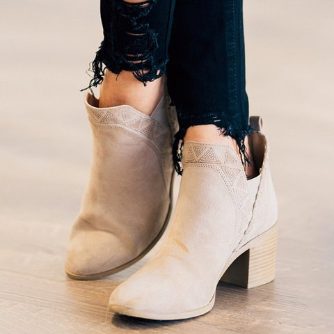 Woman Embossing Lace Solid Faux Suede Chunky Heel Slip-on Ankle Boots