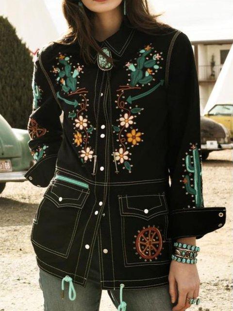 Black Cotton Long Sleeve Outerwear