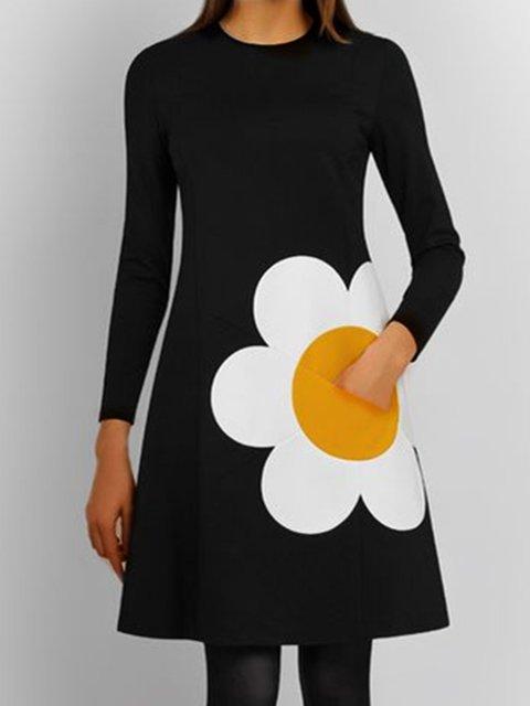 Black Long Sleeve Cotton Shift Dresses