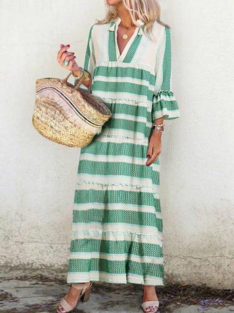 Plus Size Maxi Dresses Striped V Neck Boho Dresses