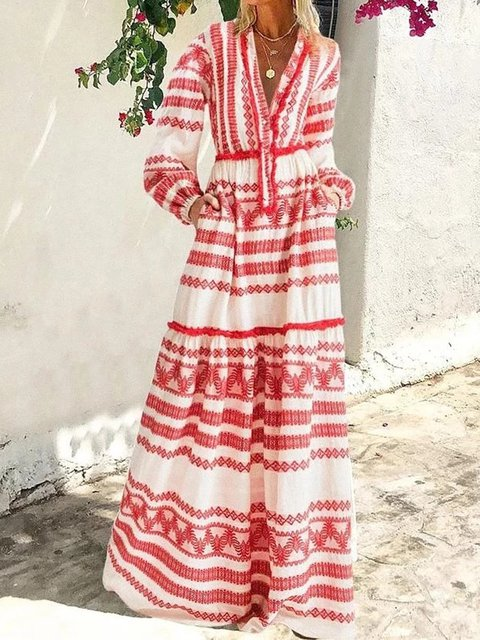 Plus Size Maxi Dresses Striped V Neck Boho Printed Dresses