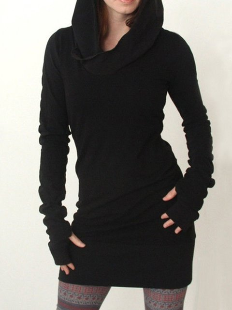 Black Hoodie Punk plus size Shirts & Tops