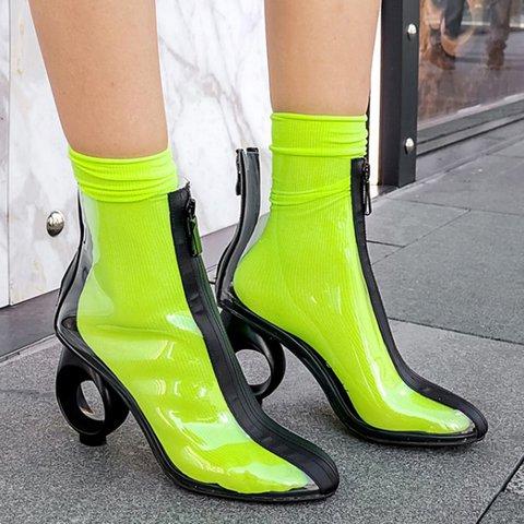 Woman Transparent Zipper Special Circle Block Heel Ankle Boots