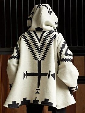 Tribal Color-Block Casual Long Sleeve Outerwear