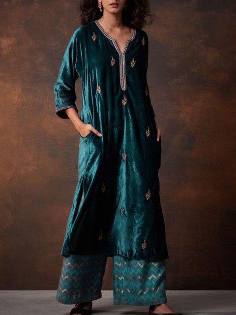 Blue Vintage Velvet Dresses